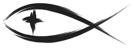pez cristiano: símbolo del pez cristiano con la cruz Vectores