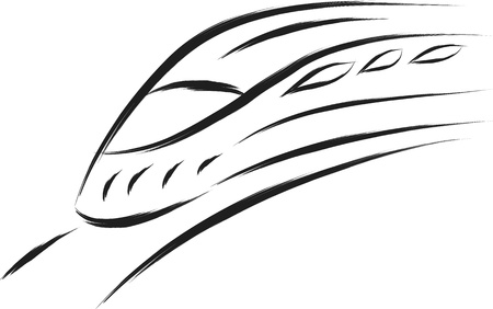 locomotora: tren de alta velocidad en el estilo de pincel de dibujo