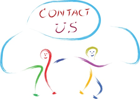 kids playing with contact us sign Vector