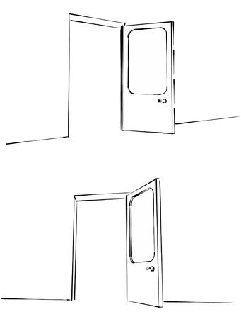 open doors: puertas abiertas anstract ilustración de boceto