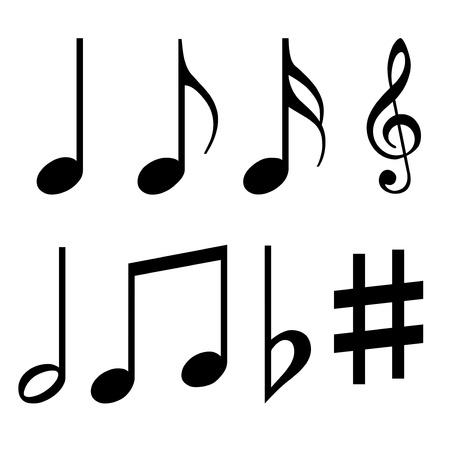 clave de fa: notas musicales establecidos Foto de archivo