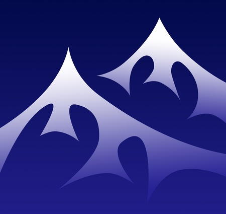 snowcapped landscape: Night mountain symbol, render illustration