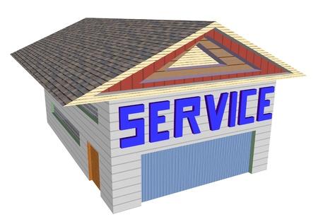 repair shop: service building for cars