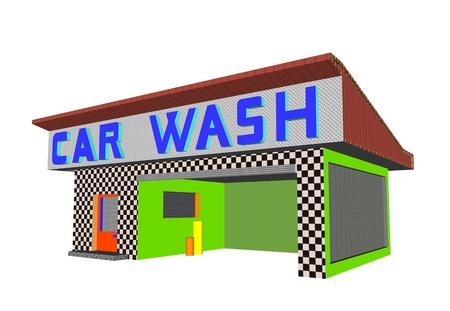 car wash building render illustration Stock Illustration - 13476998