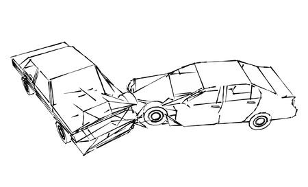 car crash accident, sketch Stock Photo