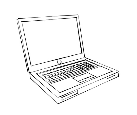 line drawings: laptop sketch  Stock Photo