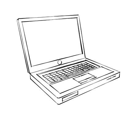 dibujos lineales: portátil boceto Foto de archivo