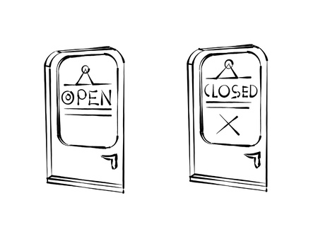 doorstep: doors open and closed