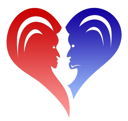 love heart couple with faces Stock Photo - 13533127