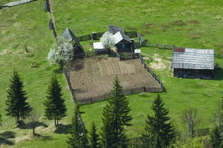 household in spring, aerial view photo
