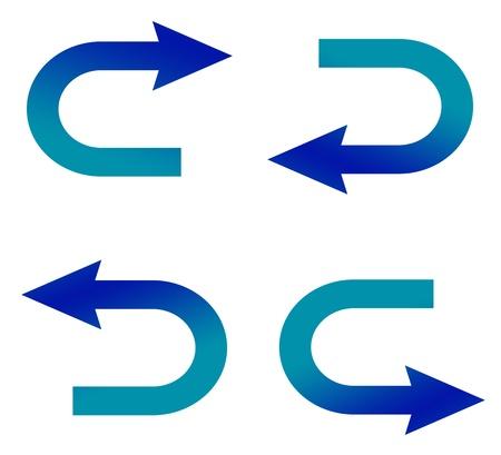 move arrow icon: curved arrow set illustration Stock Photo
