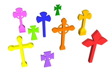 3d cross set in colors Stock Photo - 13533159