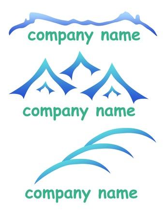 travel logo: Mountain icons set logo for company