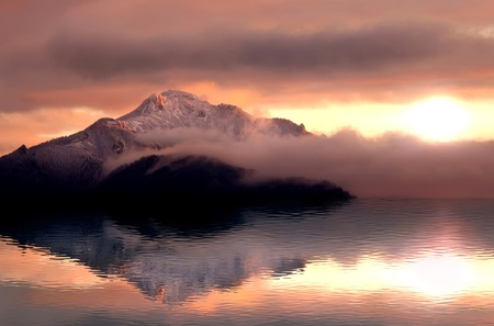 mystic sunset on mountain with water reflection photo
