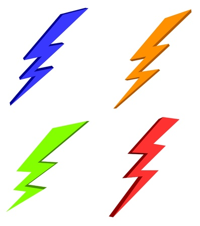 thunder storm: lightning power icon set
