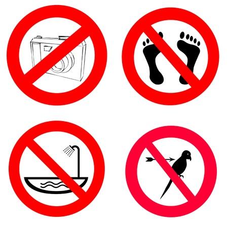 no pase: acciones prohibidas establece ilustración, icono, abstracta