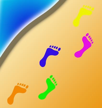 color footprints on beach photo