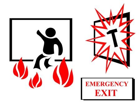 evacuacion: Emmergency ilustración de salida Foto de archivo