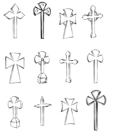 cruz religiosa: conjunto cruz religiosa de los iconos, ilustración boceto Foto de archivo