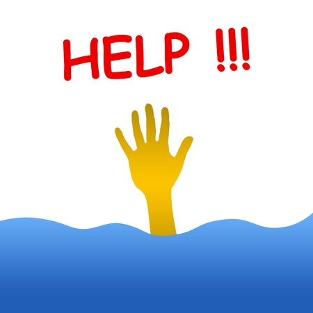 calling for help: hand in water calling for help