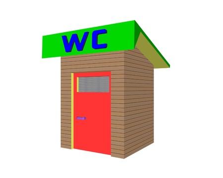 toilette: rustic toilette wc traditional illustration Stock Photo