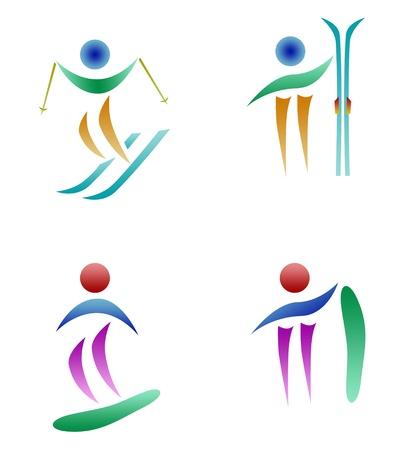 sporting activity: winter sports logo set