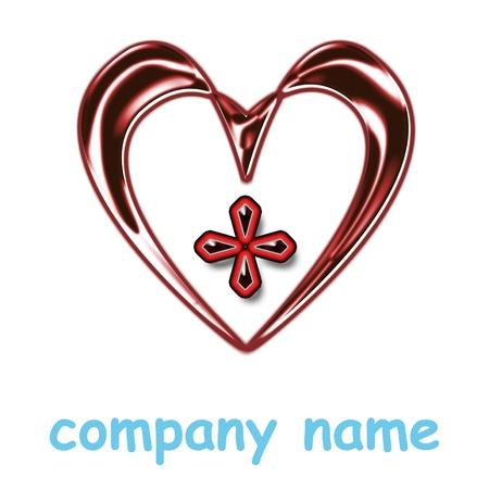 shiny heart icon for company name