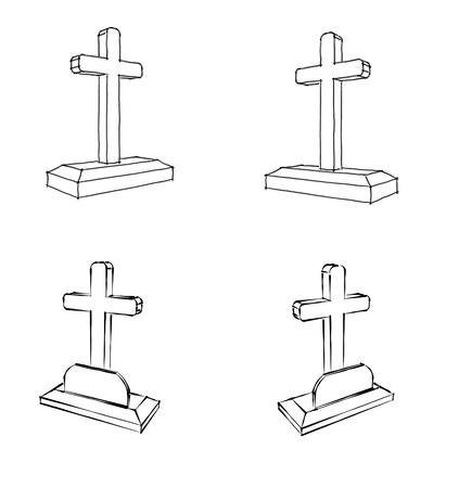 3d cross grave set Stock Photo - 13597613