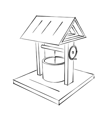 rustic draw-well fountain sketch