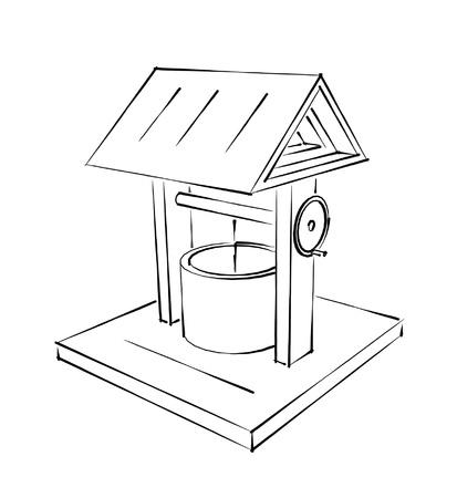garden fountain:  rustic draw-well fountain sketch