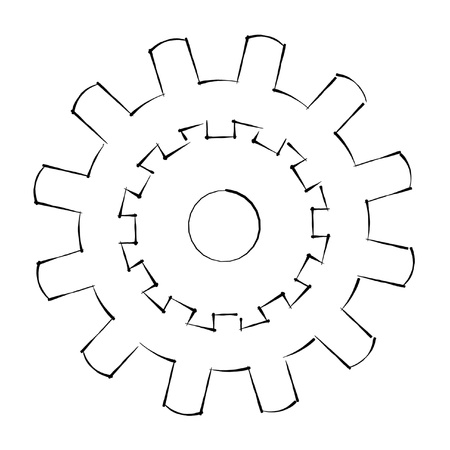 engineering drawing: gear sketch illustration