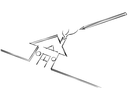 pen drawing a house Stock Photo - 13597592