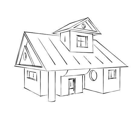 large house: classic house sketch