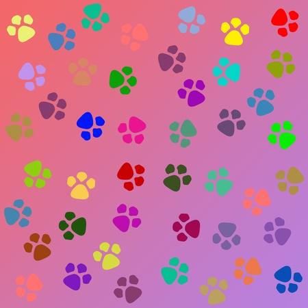 犬歯: 犬の足は、シームレスなパターンを印刷します。 写真素材
