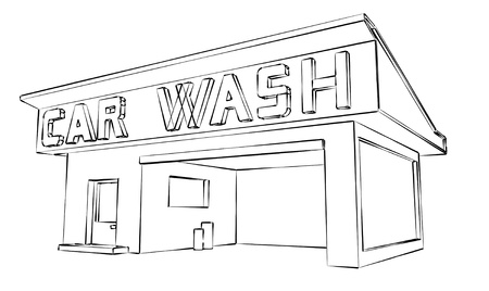 car wash building sketch Stock Photo - 13854121