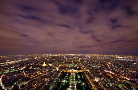 paris night: Paris night scene view from Eiffel Tower, France