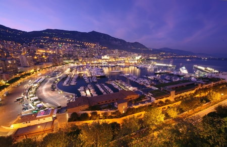night scene of Monte Carlo harbor in Monaco  写真素材
