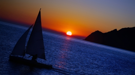 vernazza: sailing boat on sea at sunset, Cinque Terre, Italy