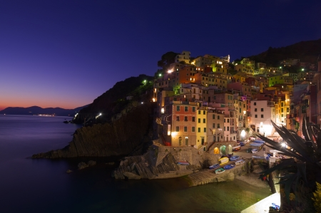 Riomaggiore Village at night, Cinque Terre, Italy  Stock Photo - 14002404
