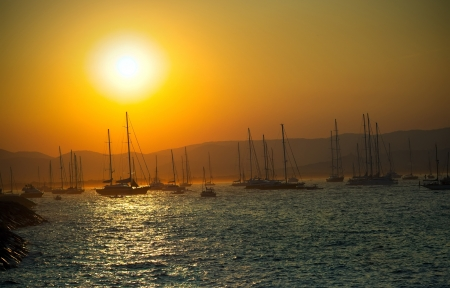 hobie: Mediterranean landscape in Saint Tropez, France at sunset Stock Photo