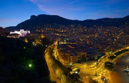 carlo: view of Monaco at night, Monte Carlo
