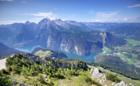 Alps mountains and Konigssee lake in Bavaria, Germany