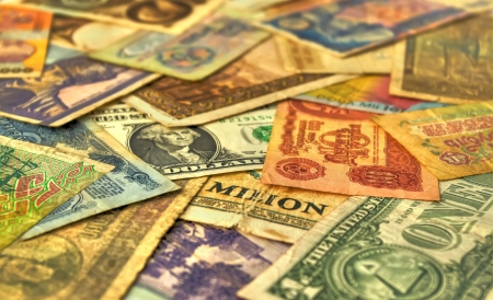 collectors: retro banknotes closeup, currencies from around the world