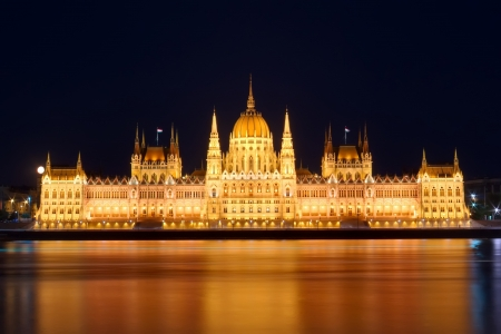 Budapest Parliament at night with reflection in Danube river photo