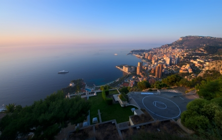 aerial view of Monte Carlo, Monaco at sunrise photo