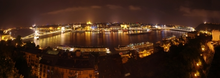 Budapest wide panorama, night scene view from Royal Palace photo