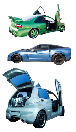 set of cars with tuning isolated on white photo