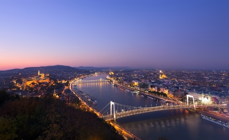Budapest and Danube at night, view from Citadella