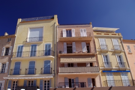 traditional houses in Saint Tropez, France photo