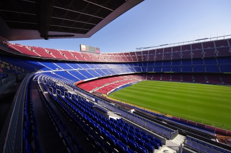 wide view of FC Barcelona  Nou Camp  soccer stadium